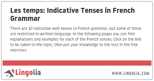 French Verb Tenses Chart Les Temps Indicative Tenses In French Grammar