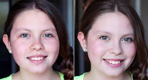 age appropriate tween makeup before and after