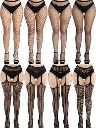 8 Pairs Women Fishnet Stockings Tights Pantyhose Thigh High Stockings Waist  Fishnets at Amazon Women's Clothing store
