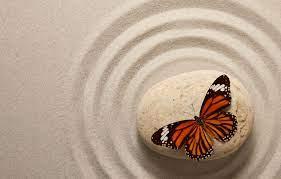 Wallpaper sand, butterfly, stone ...