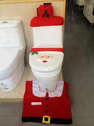 all together it represents a happy santa rug has an anti slip rubber back while both covers for the toilet and tank have elastic edges for a secure
