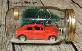 recreate the classic scene of hauling a christmas tree on the roof of a car in a mason jar step it up a notch and decorate the tree with mini string beautiful classic mason jar
