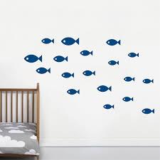 school of fish wall decals for nursery children kids rooms classroom bathroom