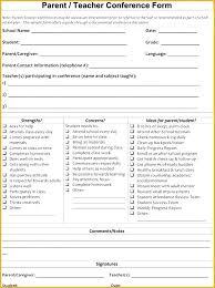Parent Teacher Conference Sheet Meeting Report Template