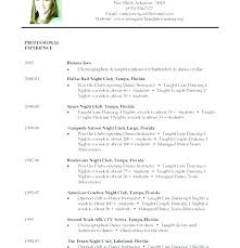 Resume Examples For College Stunning Dance Resume For College Dance Resume Template Audition Download