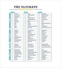 Packing List Template Free Sample Example Format Supply School