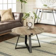 grey wash black rustic urban industrial wood and metal wrap round coffee table