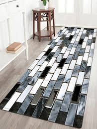 ceramic tile pattern indoor outdoor area rug black white w16 inch l47 inch