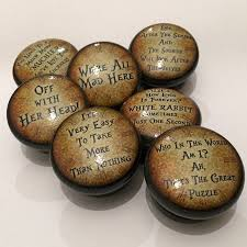 alice in wonderland quote mortice door or drawer knob by surface ...