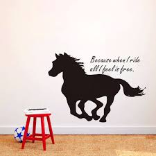 horse silhouette vinyl wall decals quotes because when i ride all i feel is free animal removable art stickers wallpaper za434 on horse silhouette wall art with online shop horse silhouette vinyl wall decals quotes because when i