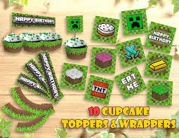 Printable Minecraft Cupcake Toppers And Wrappers Epic Party Ideas