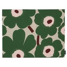 Designers Collection Placemats Marimekko Pieni Unikko Coated Cotton Placemat Beige Green