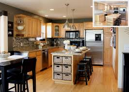 kitchen beige wall themes and brown wooden oak cabinet and kitchen island with white countertop