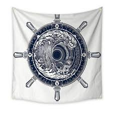 Amazoncom Adventure Bedroom Tapestry Sea Compass And Storm Tattoo