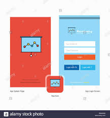 Graph Chart Online Company Graph Chart Splash Screen And Login Page Design With