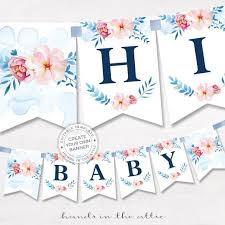 Baby Banners Template Printable Floral Banner Template Couples Baby Shower Bridal