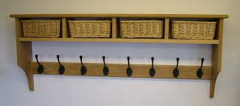 oak coat rack shelf with 4 storage baskets