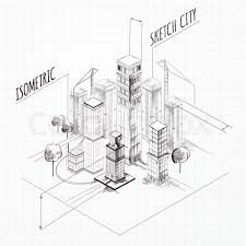 architectural drawings of skyscrapers. City Construction Sketch Isometric Concept With Skyscrapers And Cranes Vector Illustration, Architectural Drawings Of