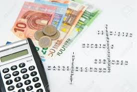 Household Expenses Calculator Euro And Calculator And Words Written In German Representing