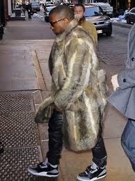 kanye west fur coat leather pants air jordan 3 sneakers 1