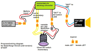 wiring diagram for my old school venom stunt 1 1 saber forge tcss makes a momentary to latching converter pre wired jst connectors can you check my wiring diagram to see if i m missing anything