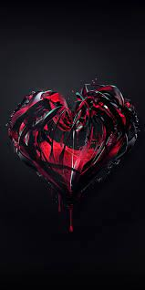 Heart, abstract, black, love, HD mobile ...