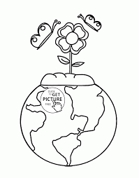 Earth And Flower Earth Day Coloring Page For Kids Coloring Pages