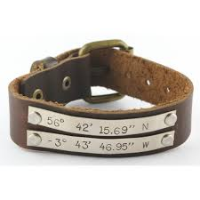 personalized brown leather coordinates buckle bracelet