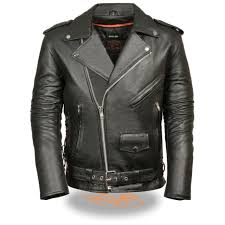 milwaukee leather men s classic side lace police style motorcycle jacket sh1011