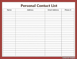 Word Contact List Template By Phone Support Telephone How