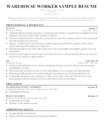 Warehouse Resume Templates Unique Sample Of Warehouse Worker Resume Warehouse Worker Resume Sample