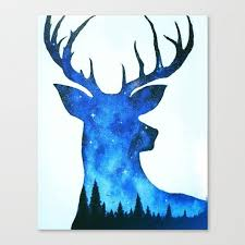 deer canvas deer painting space painting by themindblossom