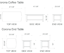 coffee table dimensions inches standard height superb size dining mm i