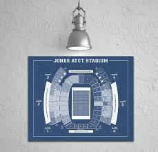 Vintage Print Of Jones At T Stadium Seating Chart Blueprint