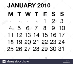 2010 Calendar January January 2010 Calendar Stock Photo 27195270 Alamy