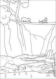 Lars En Husky Gaan Een Brug Over Krokodil Op Voorgrond Kleurplaat