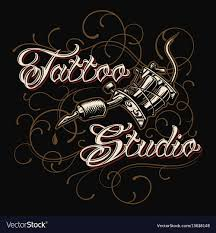Tattoo Studio Emblem With Tattoo Machine