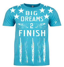 Blue Letters Dream Finishers Big Dreams 2 Finish Tahiti Blue Shirt With White Stars And White Letters