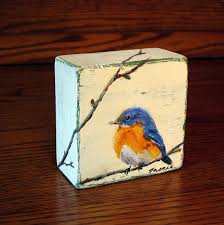 made to order blue bird painting original oil painting on wood block wildlife art miniature art small painting mini painting