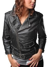 retro style women vintage leather motorcycle jacket