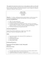 Job Maintenance Job Description Resume