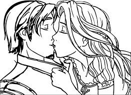 Small Picture Rapunzel And Flynn Couple Kiss Coloring Page Wecoloringpage