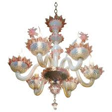 pink and white murano blown glass chandelier with flowers circa 1940 for