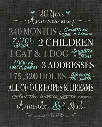 20 year anniversary gift wedding anniversary gift print gift for husband home