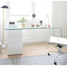 alluring glass desk with drawers on white hanging lacquered cool design