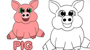how to draw cute cartoon pig art for kids