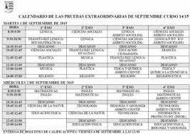 Calendario De Las Pruebas De Septiembre 2015 I E S La Loma