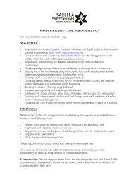 Cook Job Description Resume Resume Ideas