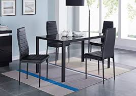 ids 5 piece pact dining table room set for 4 with gl top and soft faux