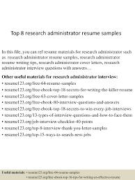 Research Administrator Sample Resume Top224researchadministratorresumesamples224lva224app622492thumbnail24jpgcb=22424322472402437 9